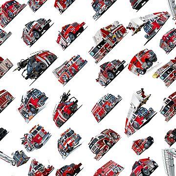 Cartoon Fire Trucks seamless pattern by Mechanick