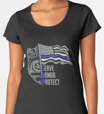 Police Officer SHP Serve Honor and Protect US Flag Women's Premium T-Shirt