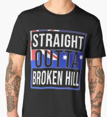Straight Outta Broken Hill Retro Style - Gift For An Australian From Broken Hill in New South Wales , Design Has The Australia Flag Embedded Men's Premium T-Shirt