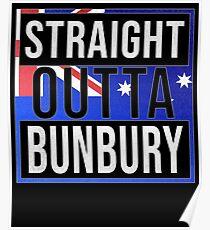 Póster  Straight Outta Bunbury Retro Style - Gift For An Australian From Bunbury in Western Australia , Design Has The Australia Flag Embedded