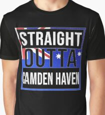 Straight Outta Camden Haven Retro Style - Gift For An Australian From Camden Haven in New South Wales , Design Has The Australia Flag Embedded Graphic T-Shirt