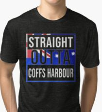 Straight Outta Coffs Harbour Retro Style - Gift For An Australian From Coffs Harbour in New South Wales , Design Has The Australia Flag Embedded Tri-blend T-Shirt