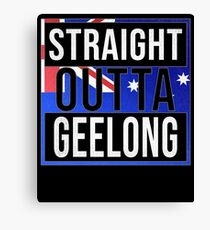 Straight Outta Geelong Retro Style - Gift For An Australian From Geelong in Victoria , Design Has The Australia Flag Embedded Canvas Print