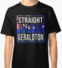 Straight Outta Geraldton Retro Style - Gift For An Australian From Geraldton in Western Australia , Design Has The Australia Flag Embedded Classic T-Shirt