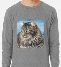 Painting of a Gorgeous Furry Gray Cat Lightweight Sweatshirt