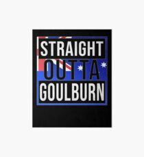 Straight Outta Goulburn Retro Style - Gift For An Australian From Goulburn in New South Wales , Design Has The Australia Flag Embedded Art Board