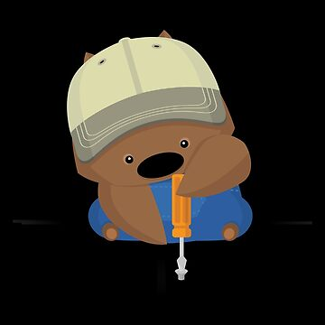 NPM: Wombat and screwdriver (Black background) by hellkni9ht