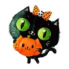 Halloween Cute Black Cat with bow by colonelle
