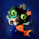 Black Cat Mermaid with Sugar Skull by colonelle