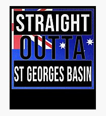 Straight Outta St Georges Basin Retro Style - Gift For An Australian From St Georges Basin in New South Wales , Design Has The Australia Flag Embedded Photographic Print