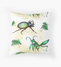 Floral Insects in Green Throw Pillow