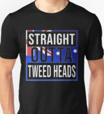 Straight Outta Tweed Heads Retro Style - Gift For An Australian From Tweed Heads in New South Wales , Design Has The Australia Flag Embedded Unisex T-Shirt