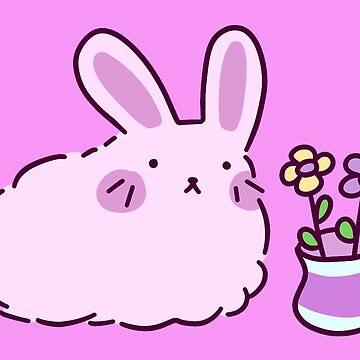Pink Bunny with Flower Vase by SaradaBoru