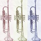 Notes Of The Rainbow - Colourful Trumpet Print  by Colin Jones