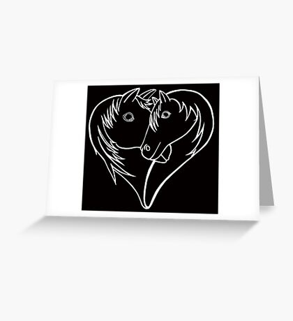 For the Love of Horses (white on solid) Greeting Card