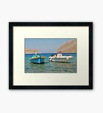 Pedi harbour boats, Symi Framed Print