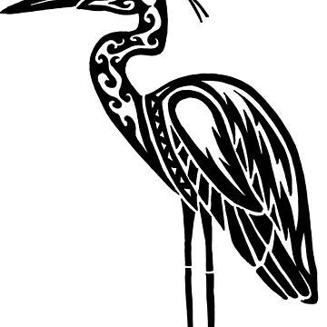 Great Blue Heron Tribal Design  by KitayamaDesigns