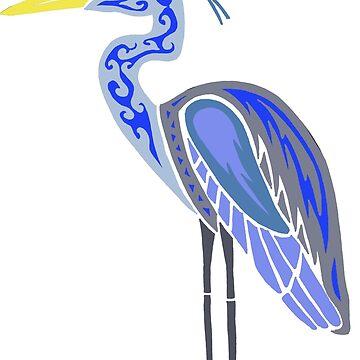 Great Blue Heron Colored  by KitayamaDesigns