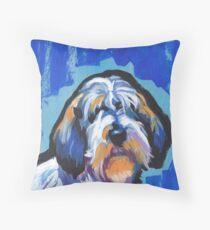 PBGV petit basset griffon vendeen Bright colorful pop dog art Throw Pillow