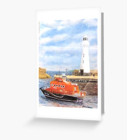 Donaghadee Lighthouse and Lifeboat Greeting Card