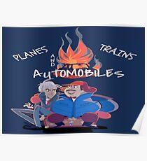Flugzeugzüge und Automobile Poster