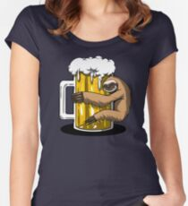 Lazy Sloth Beer Drinking Lover Funny Women's Fitted Scoop T-Shirt