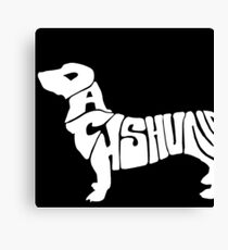 Dachshund silhouette with letters Canvas Print