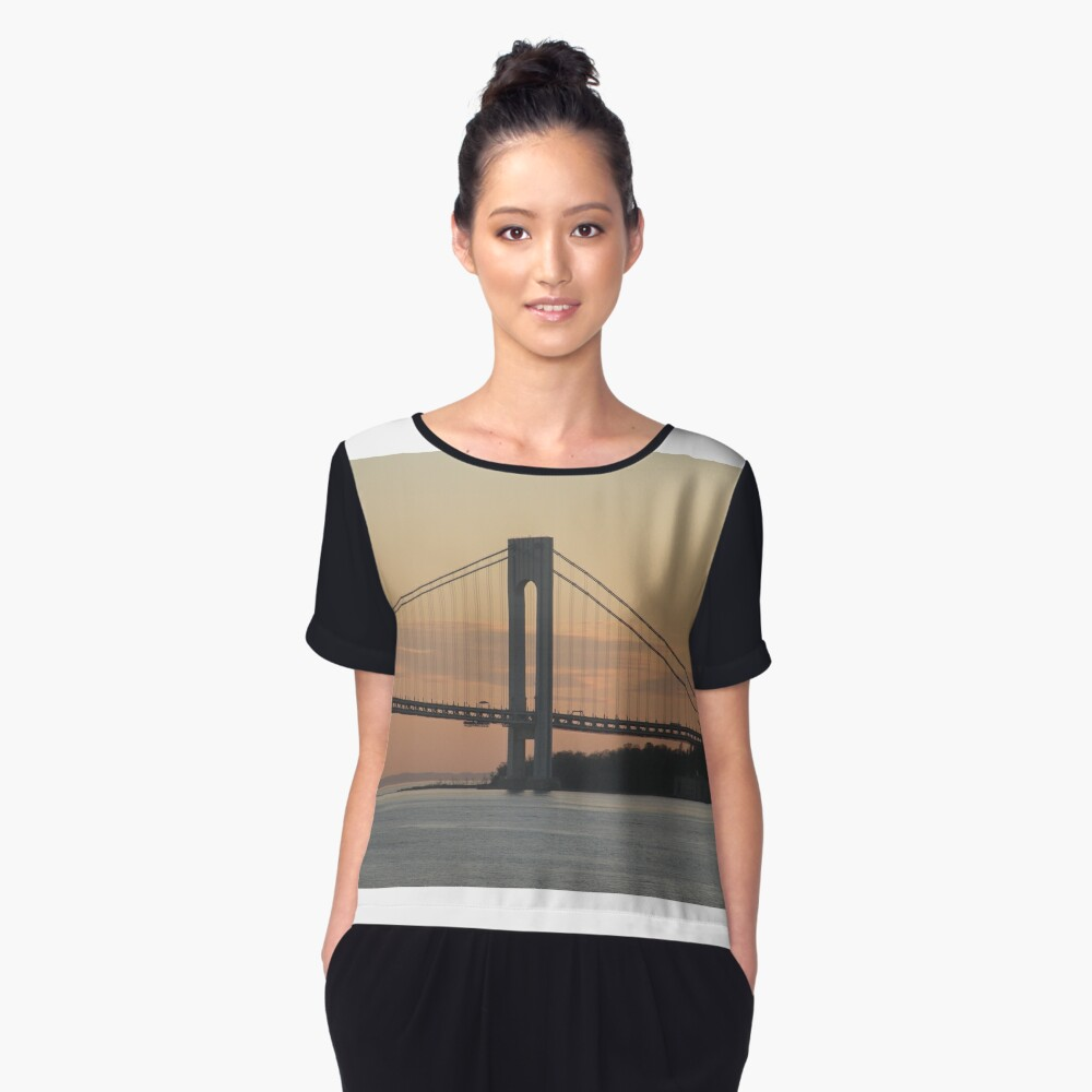 #bridge, #architecture, #water, #city, #usa, #california, #WerrazanoNarrowsBridge, #suspension, #river, #sky, #bay, #landmark Women's Chiffon Top Front