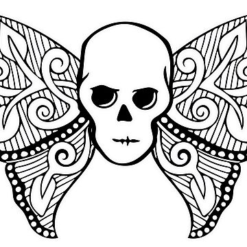Gothic Skull Butterfly Adult Coloring T Shirt Gift Striped Background by SmartAndPunny