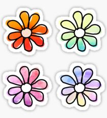 Aquarell Blumen - 4er Pack Sticker