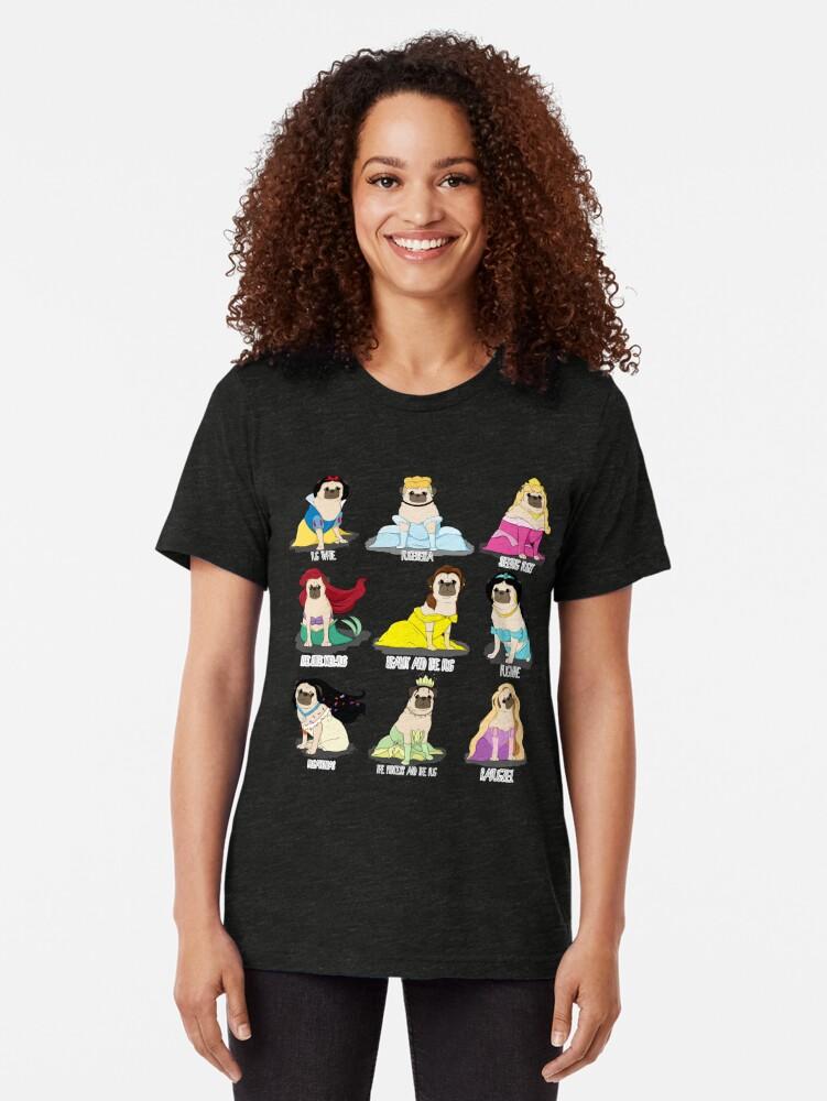 Alternate view of Pug Princesses Tri-blend T-Shirt