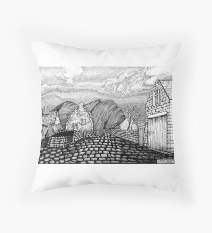 271 - STYLISED CREGNEASH VIEW - DAVE EDWARDS - INK - 2018 Throw Pillow