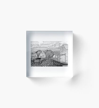 271 - STYLISED CREGNEASH VIEW - DAVE EDWARDS - INK - 2018 Acrylic Block