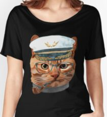 Cat Kitty Kitten In Clothes Glasses Captain Women's Relaxed Fit T-Shirt