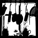 Kitchen Window Silhouette - White on Black or Color by Douglas E.  Welch