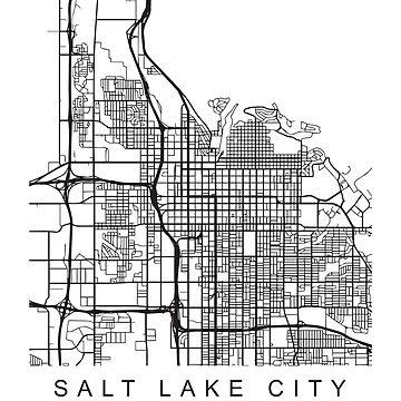 Salt Lake City Minimalist City Street Map Dark Design by Andrewkgolf