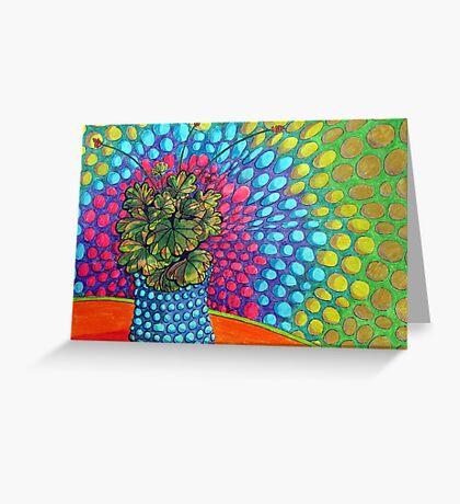 268 - POP ART PELARGONIUM - DAVE EDWARDS - COLOURED PENCILS & FINELINERS - 2009 Greeting Card