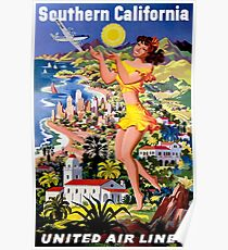UNITED AIR WEGE; Fliege nach Southern California Print Poster