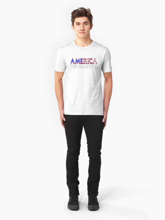 Alternate view of America the Beautiful in Red, White and Blue Slim Fit T-Shirt