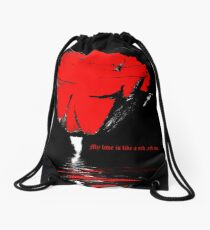 My love is like a red, red rose Drawstring Bag