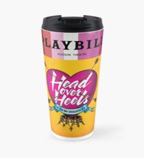 head over heels lesbian flag Travel Mug