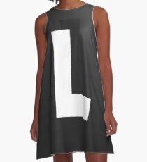 #L, #black, #white, #chess, #checkered, #pattern, #abstract, #flag, #board A-Line Dress