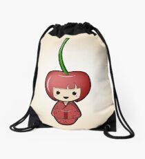Cherry Kokeshi Doll Drawstring Bag