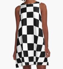 #black, #white, #chess, #checkered, #pattern, #flag, #board, #abstract, #chessboard, #checker, #square, #floor A-Line Dress