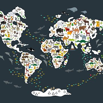 Cartoon animal world map, back to schhool. Animals from all over the world, dark grey. Scandinavian decor by EkaterinaP