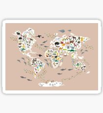 Cartoon animal world map, back to schhool. Animals from all over the world rosybrown background Sticker
