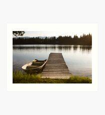 Row Boat on Savage Lake, MT Art Print