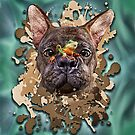 French bulldog with frog by Andrea Tiettje