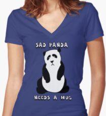 Sad Panda Needs A Hug Women's Fitted V-Neck T-Shirt