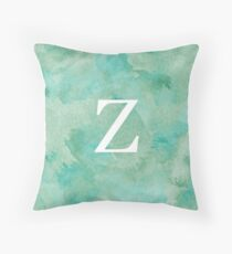 Emerald Watercolor Ζ Throw Pillow